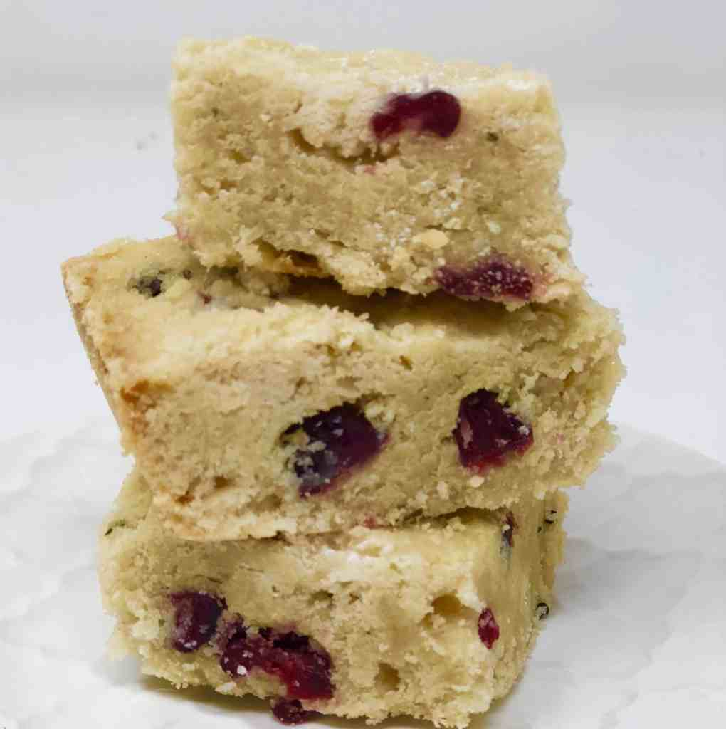 Cranberry and Rosemary Shortbread on a white plate