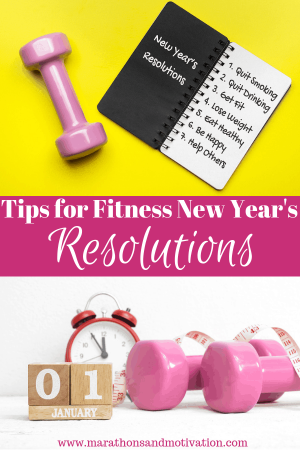 Tips for Fitness New Year's Resolutions: Pink Dumbbells, alarm clock, journal with resolutions