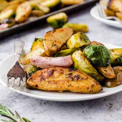 Roasted Fingerling Potatoes and Brussels Sprouts