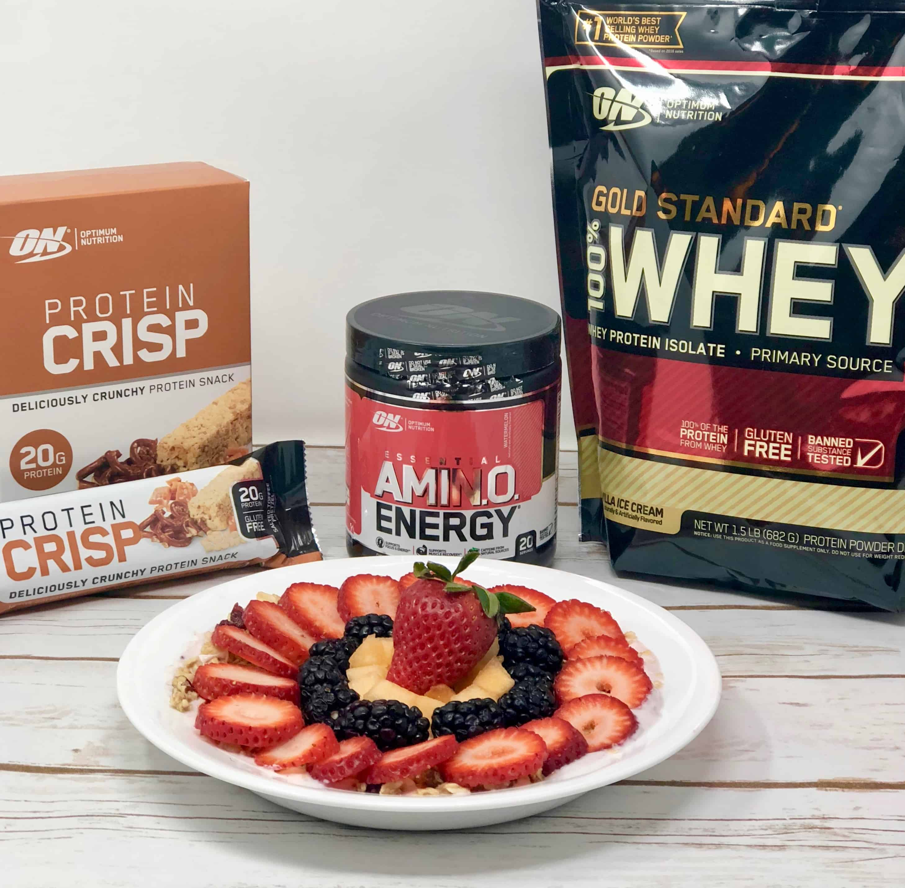 Fruit Smoothie Bowl and Optimum Nutrition products