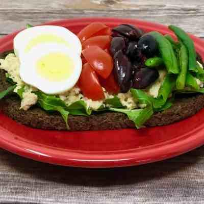 Nicoise Salad on Pumpernickel Toast