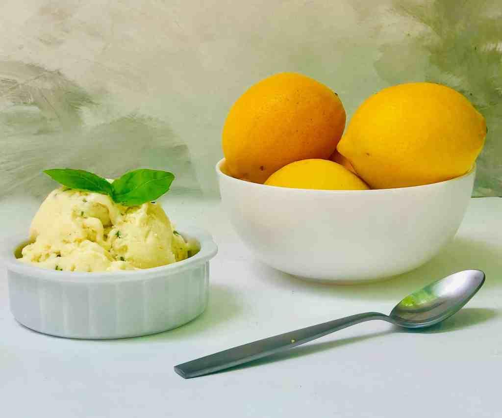 Homemade Meyer lemon and basil gelato: A delcious frozen dessert made with Meyer lemon juice and fresh basil that is perfect for summer #meyerlemons #gelato