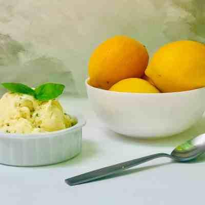 Homemade Meyer Lemon and Basil Gelato