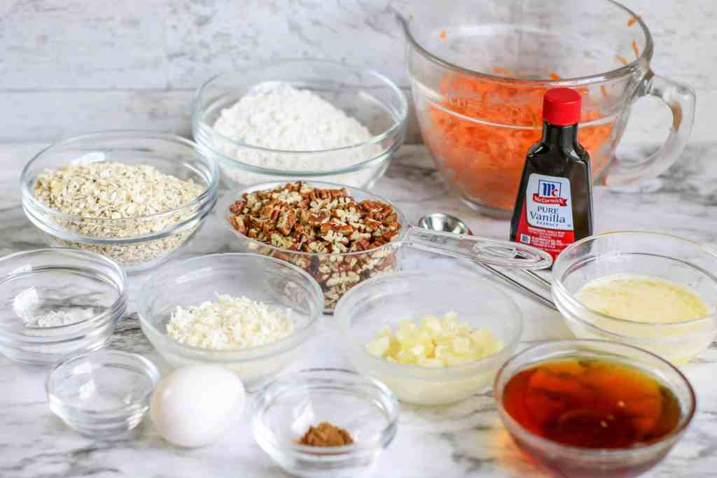 Ingredients to make carrot cake cookies