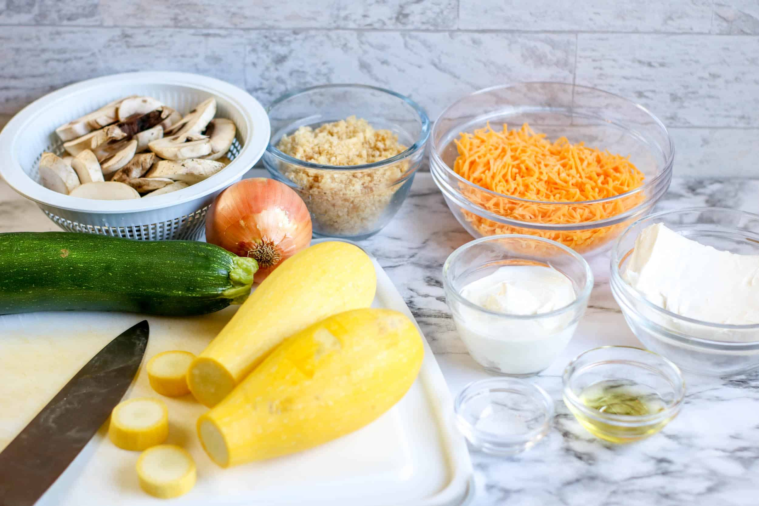 Low Carb Squash Casserole ingredients