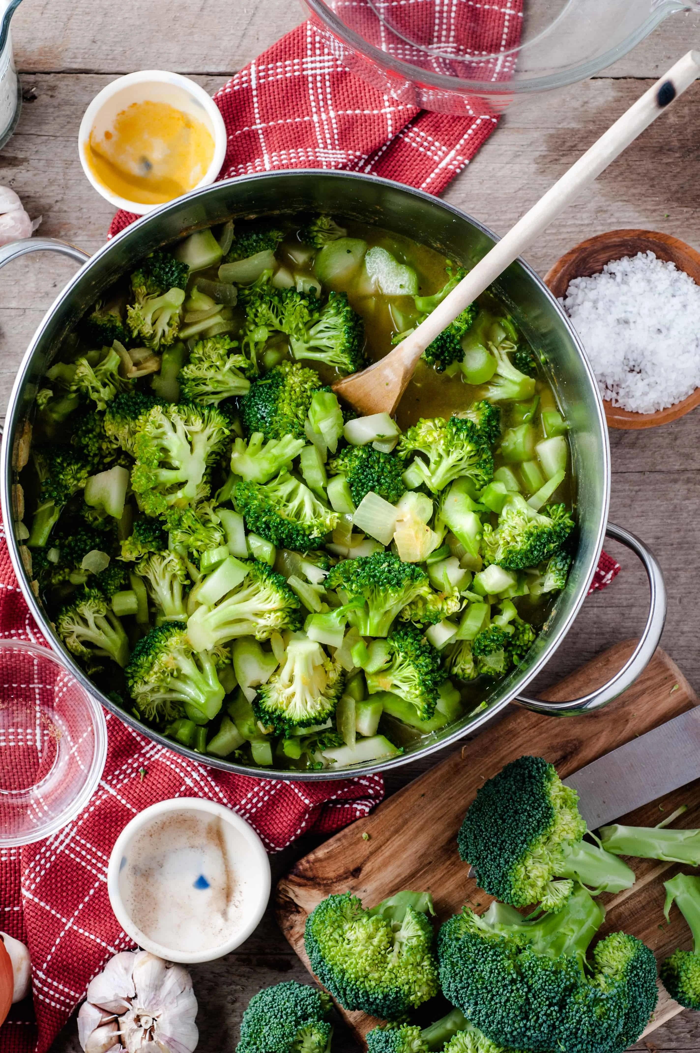Vegetarian Cream of Broccoli soup ingredients in pot