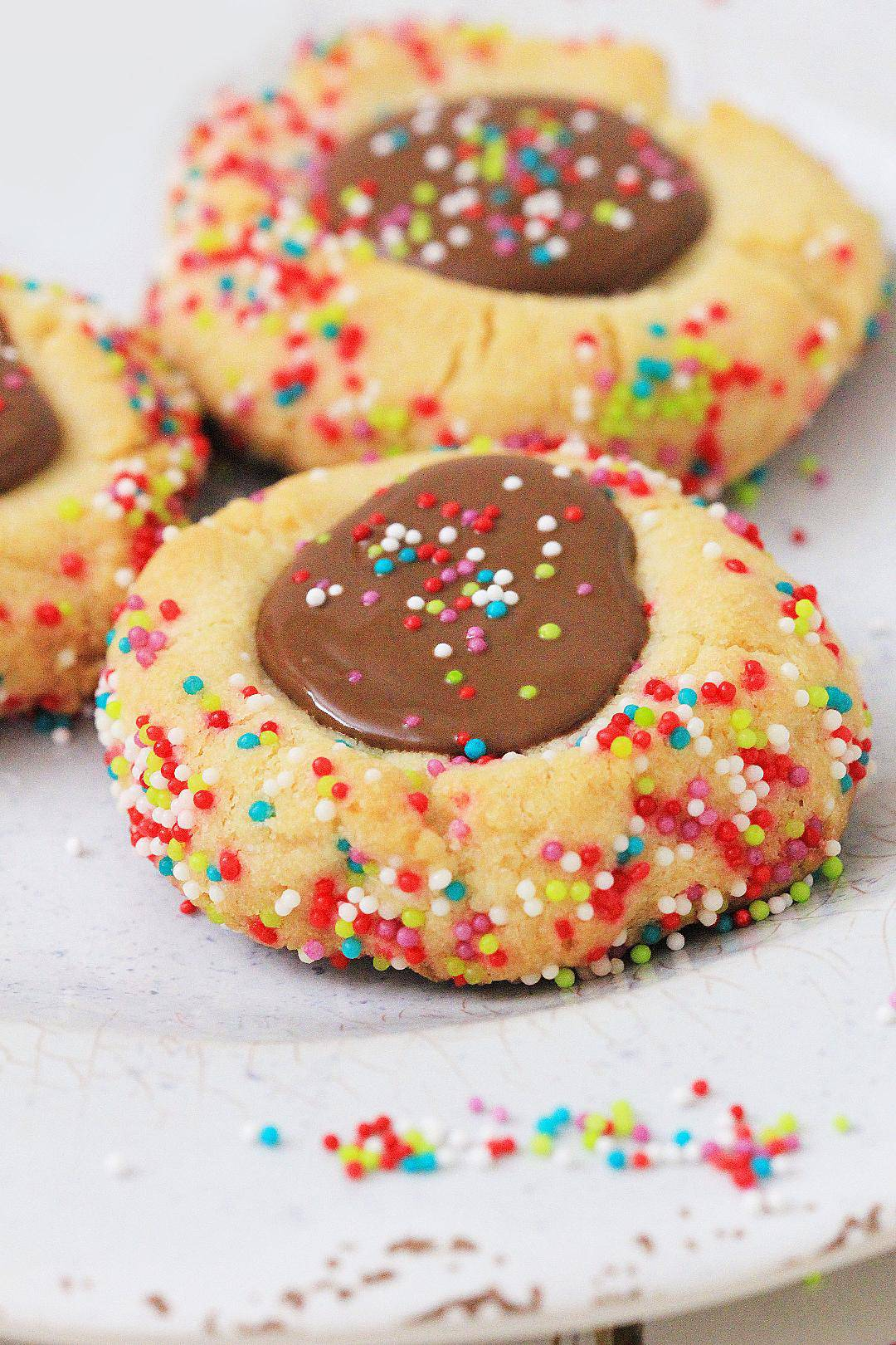 Chocolate Thumbprint Cookies on a white plate