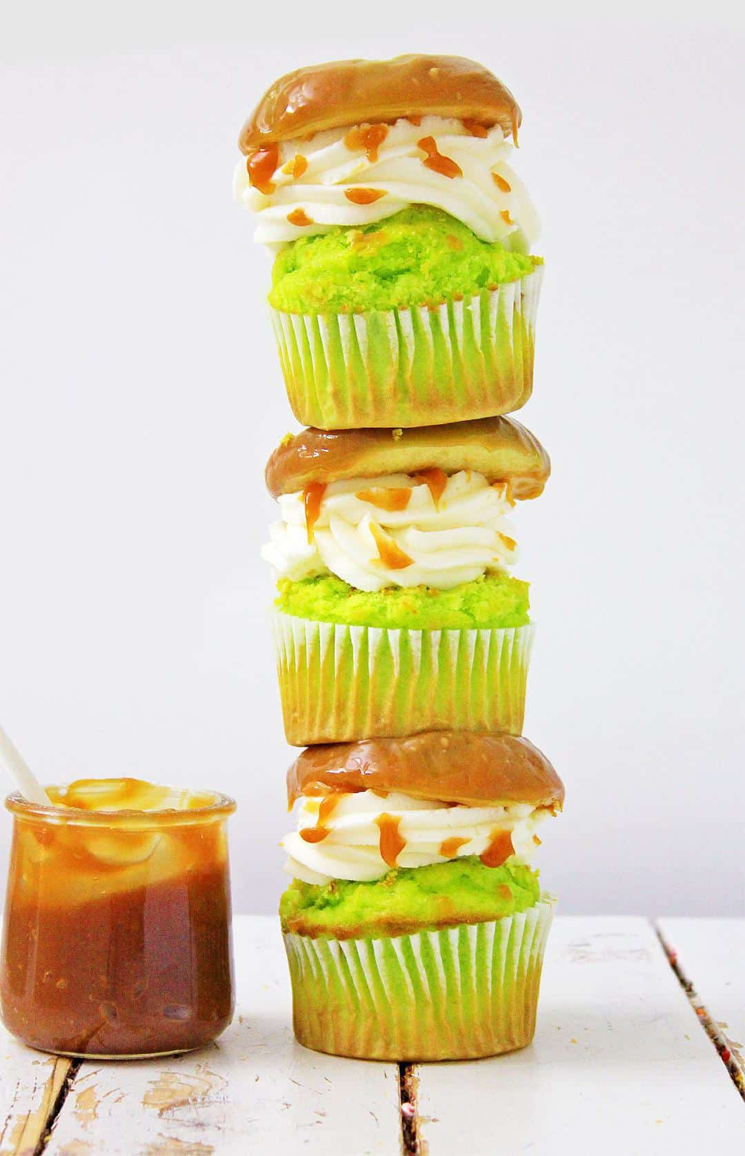 Stack of delicious caramel apple cupcakes