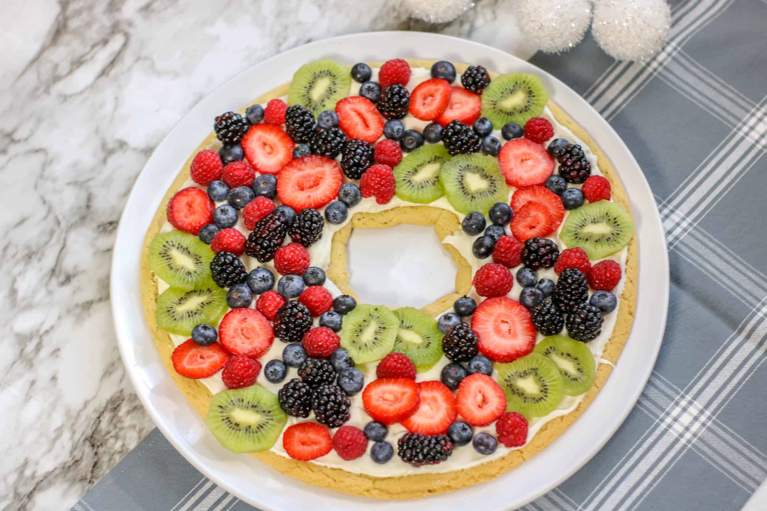 Fruit Pizza Christmas Wreath