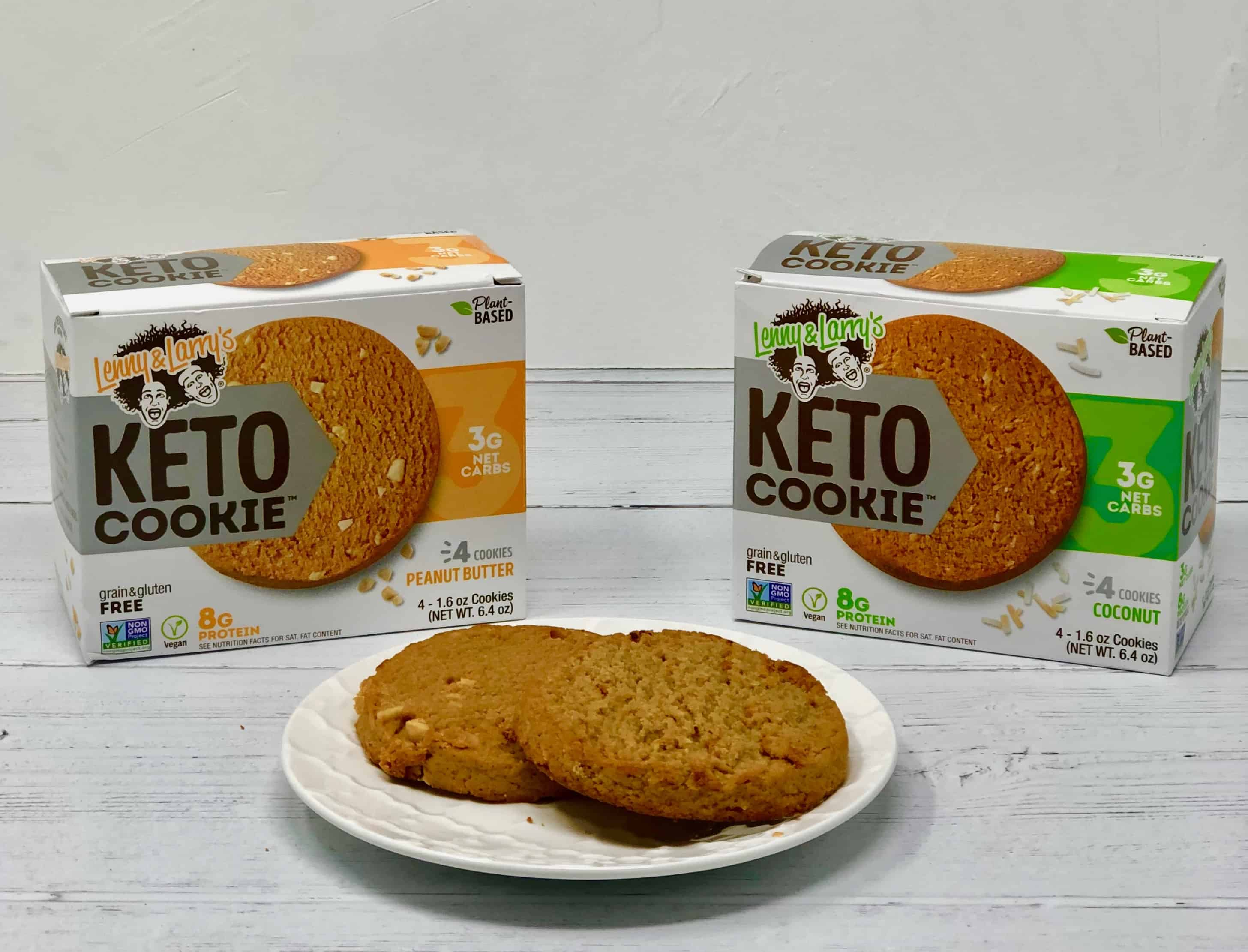 Lenny & Larry's keto cookies on a white background.