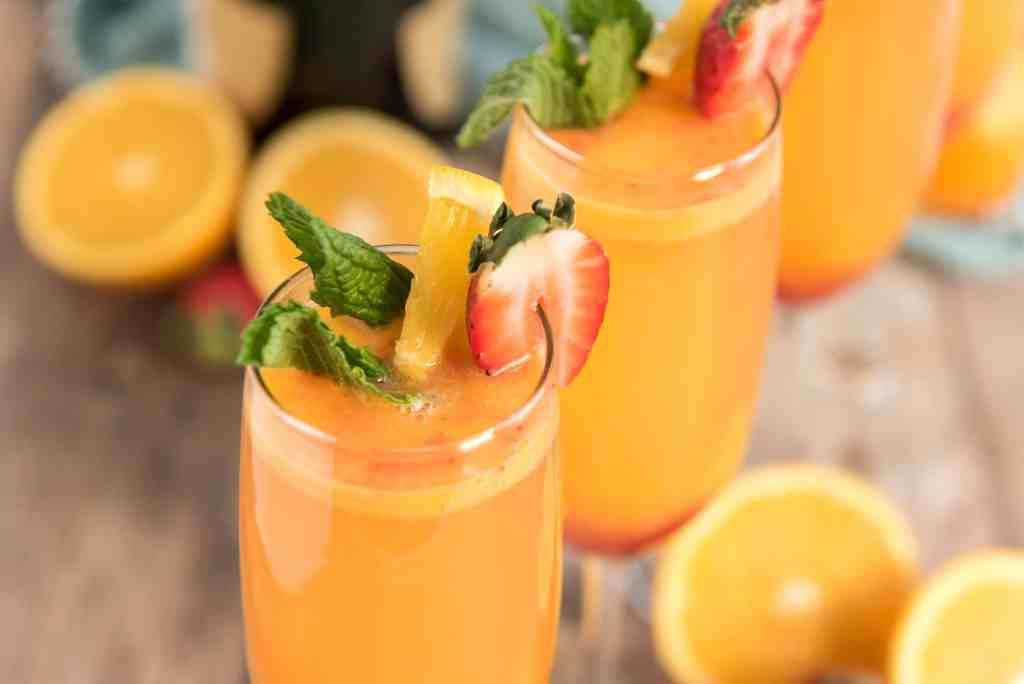 Side picture of strawberry mimosas.