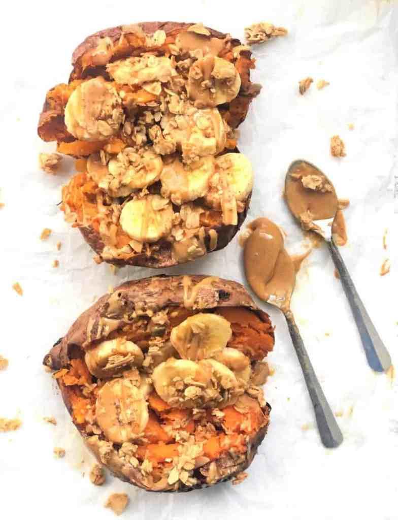 Peanut Butter Banana Stuffed Sweet Potatoes