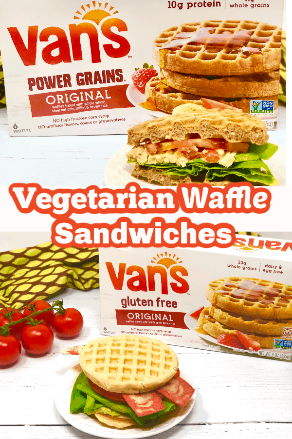 Vegetarian Waffle Sandwiches Pin for Pinterest.