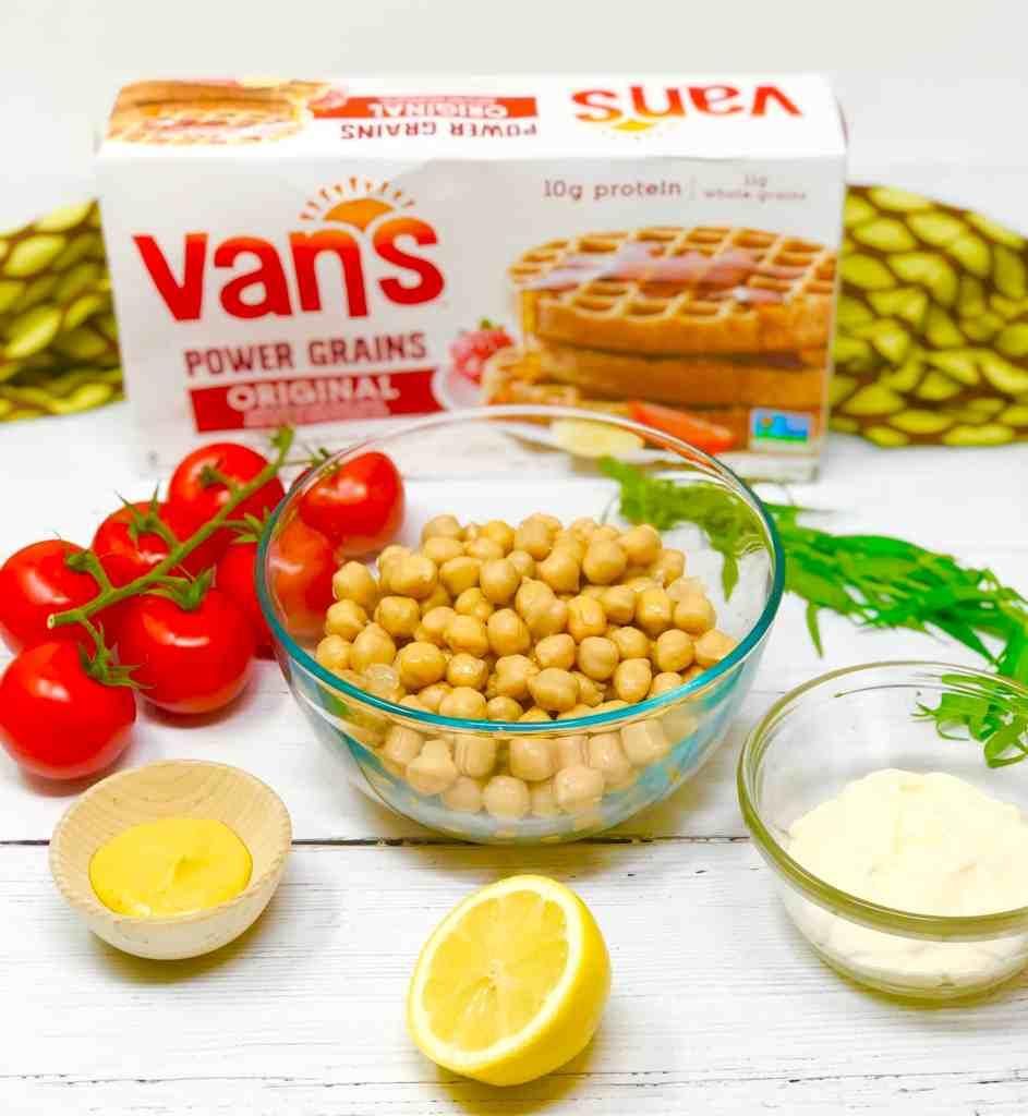 Ingredients for Vegetarian Chicken Salad Waffle Sandwich.