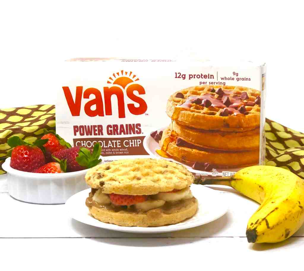 Van's waffles and strawberries, banana and almond butter waffle sandwich.