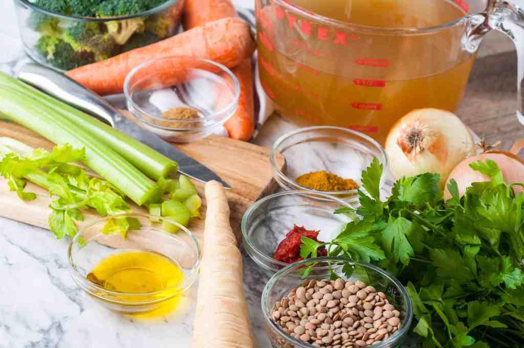 Ingredients for vegan lentil soup.