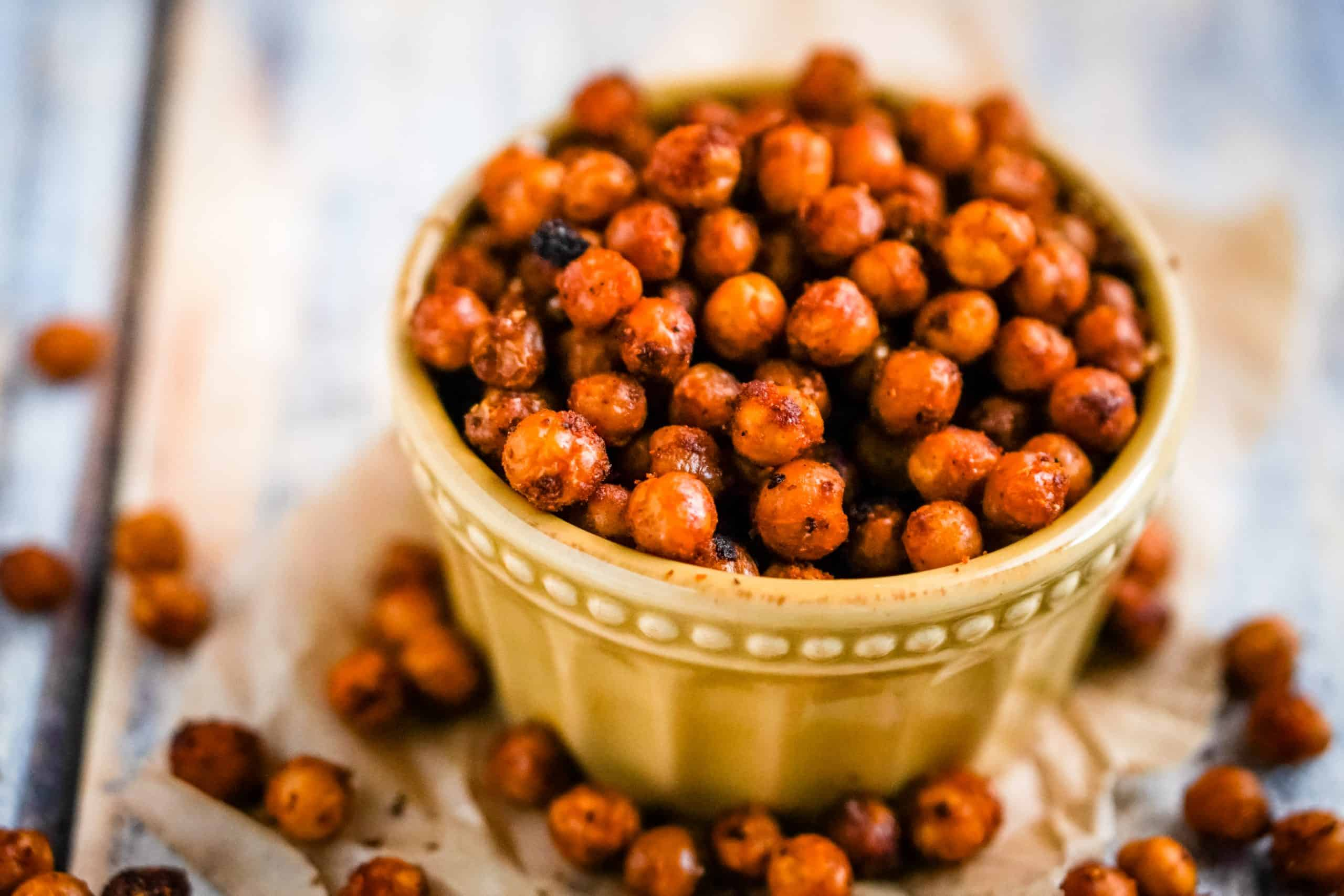roasted buffalo chickpeas in a yellow bowl.