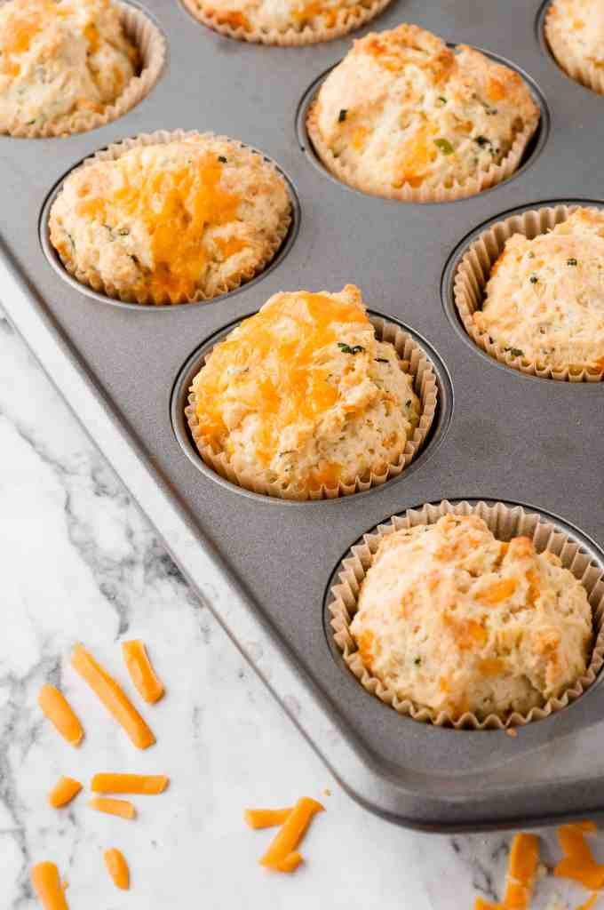 Baked scones in muffin tin.
