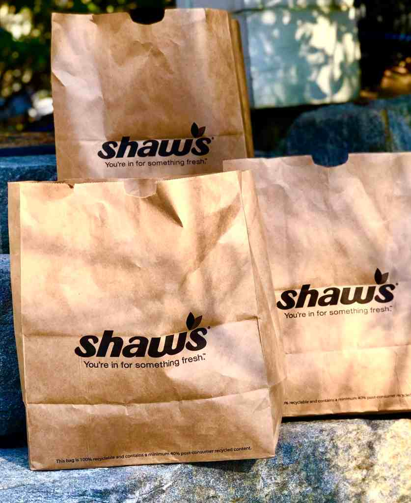 Shaw's grocery bags.