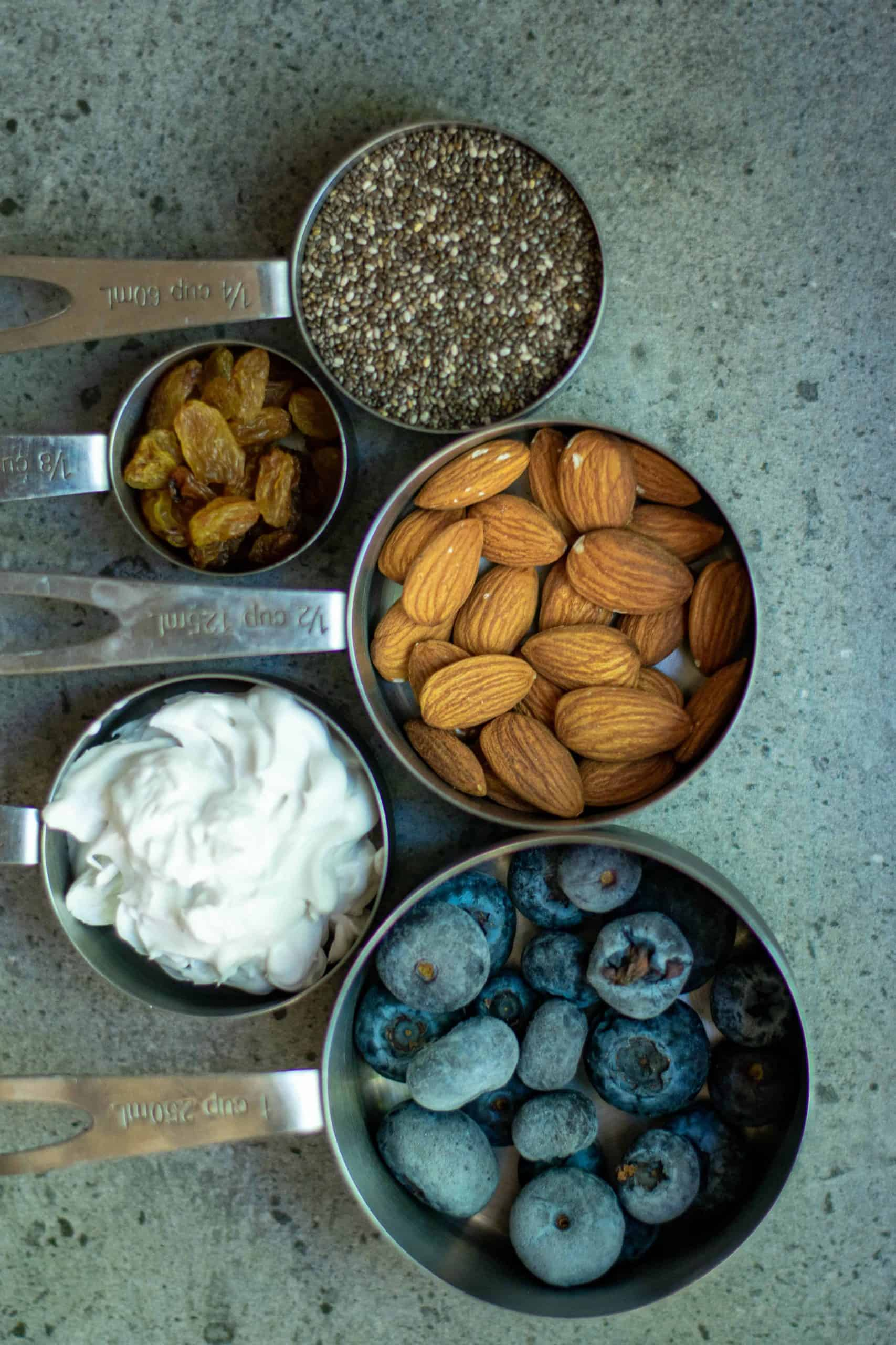 Ingredients for chia pudding with blueberries.