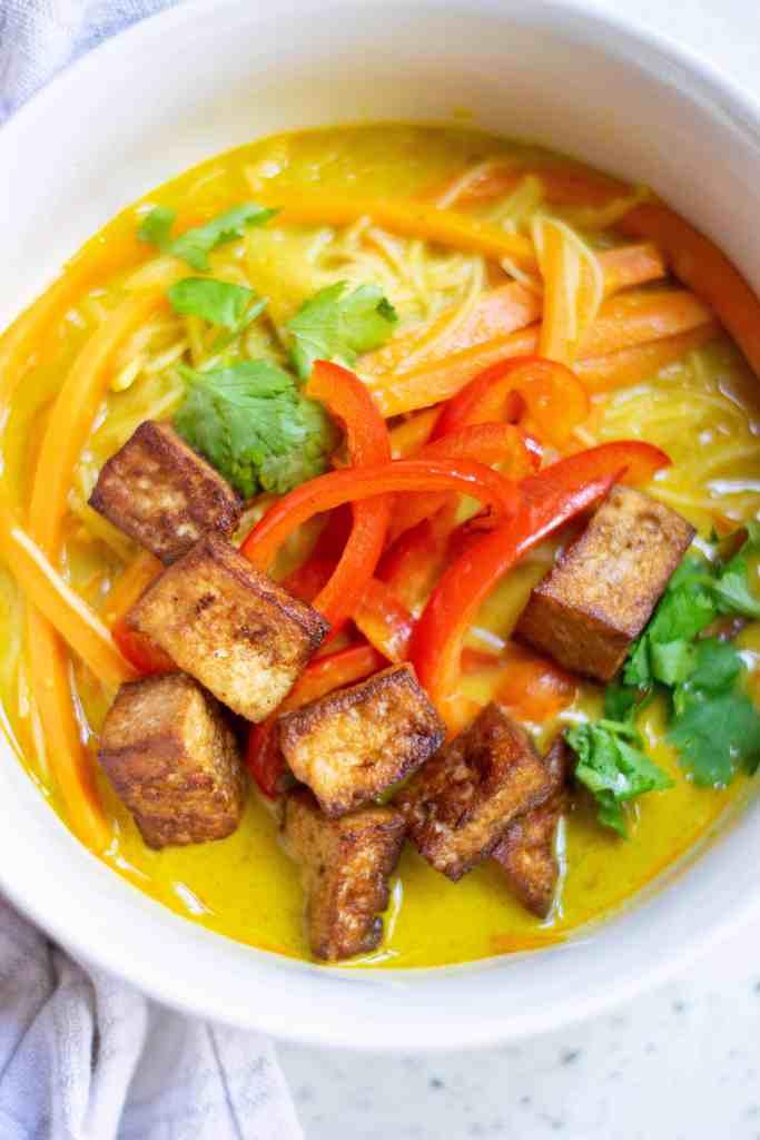 Overhead view of Vegan Thai Coconut Soup