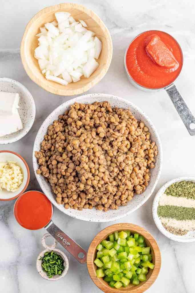 Ingredients for Vegan Buffalo Sloppy Joes