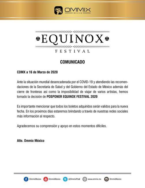 nueva fecha festival equinox 2020