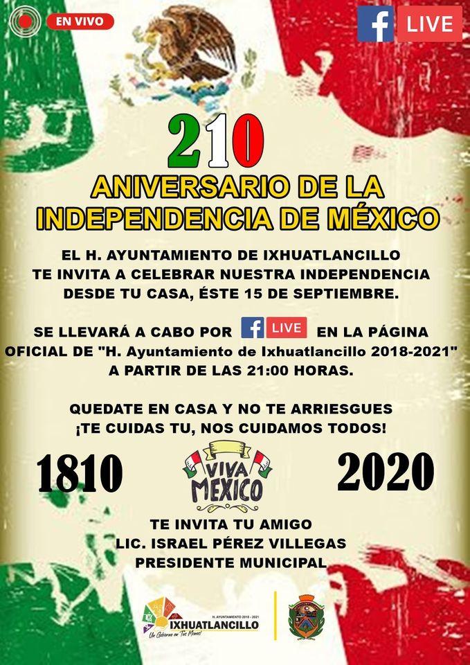 grito de independencia ixhuatlancillo 2020