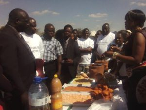 Government officials appreciating nutritious foods during the Global Action Day on Nutrition in Dowa