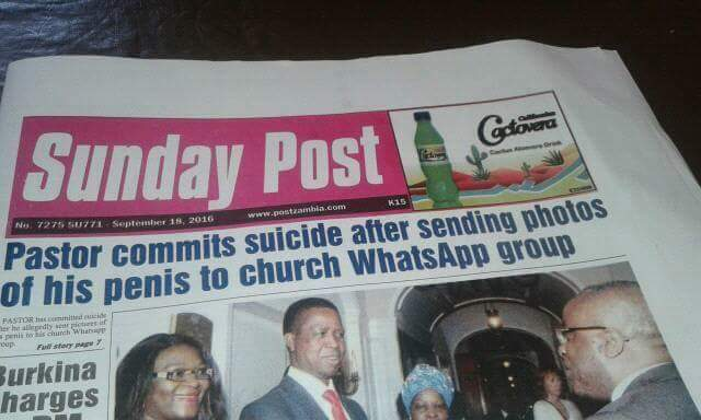 Pastor commits suicide after sending pictures of his penis to Church Whatsapp group