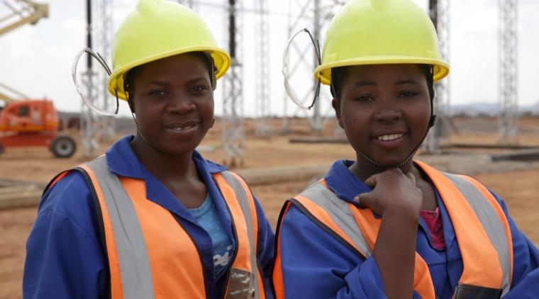 Women working at the Nkhoma substation outside of Lilongwe
