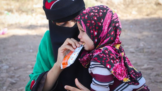 Mobile health clinics are distributing nutritional supplements to children in Yemen.