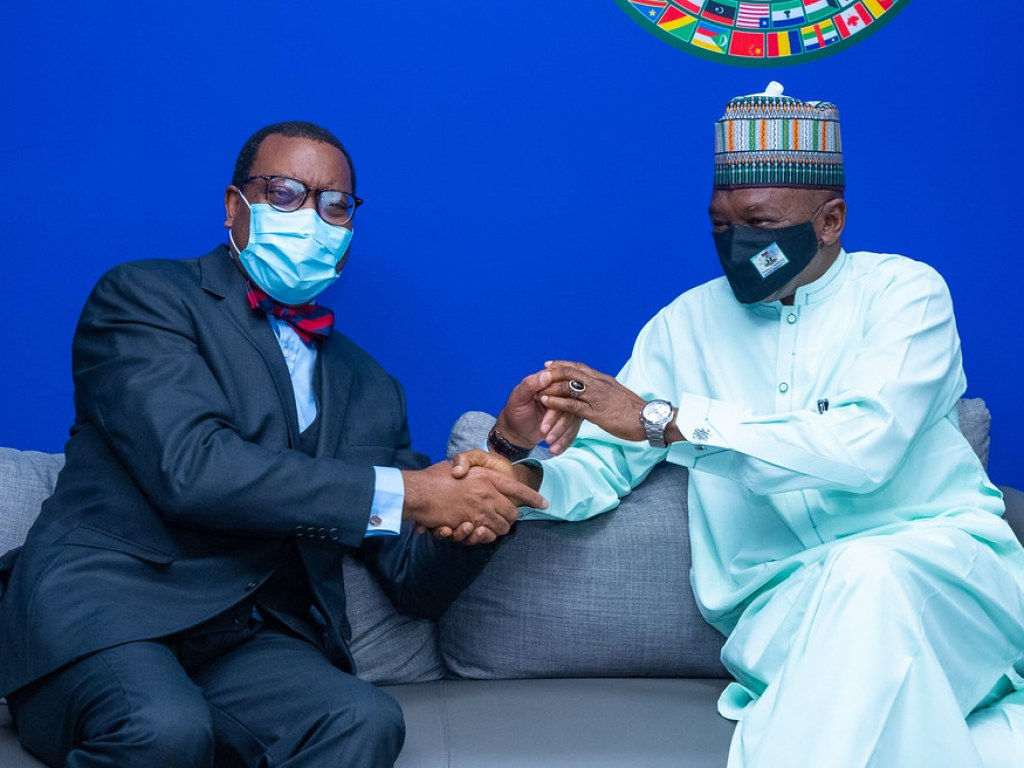 President Akinwumi A. Adesina meeting with Dr Mohammed Abubakar, Minister of Agriculture and Rural Development of Nigeria