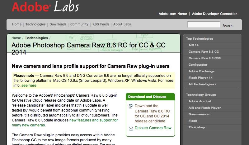Adobe Photoshop Camera Raw 8.6 RC