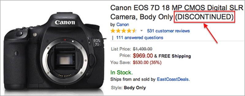 Canon EOS 7D DSLR camera listed as discontinued at Amazon
