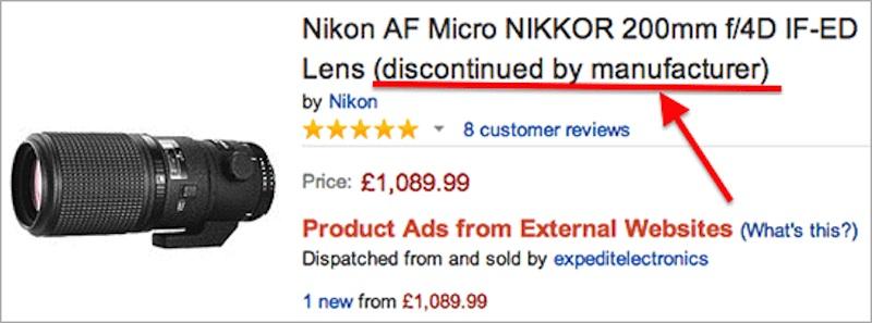Nikon AF Micro-Nikkor 200mm f:4D IF-ED ディスコン