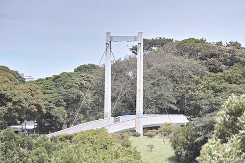野毛山公園展望台から見た動物園との陸橋