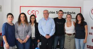El portavoz de OSP, Rafael Piña (con camisa azul) durante un acto con otros dirigentes de su partido