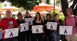 Integrantes de la plataforma durante una protesta