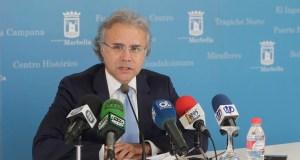 El concejal de Turismo de Marbella, José Luis Hernández. este jueves en rueda de prensa