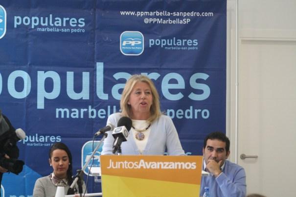 La presidenta del PP de Marbella, Ángeles Muñoz, durante una reciente intervención en el Comité Ejecutivo del PP local. Foto/ marbellaconfidencial.es