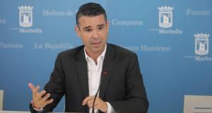 El alcalde de Marbella, José Bernal, este martes en rueda de prensa tras la Junta de Gobierno Local