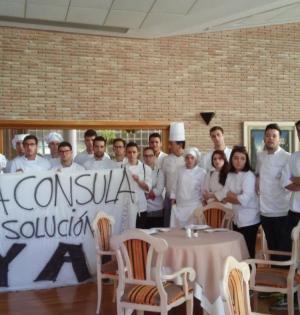 imagen del encierro de los alumnos de la Escuela de Hostelería de La Cónsula en Málaga