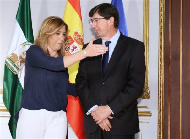 La presidenta de la Junta de Andalucía, Susana Díaz, y el líder regional de Ciudadanos, Juan Marín, en imagen de archivo durante una reunión en San Telmo. FOTO/ EP