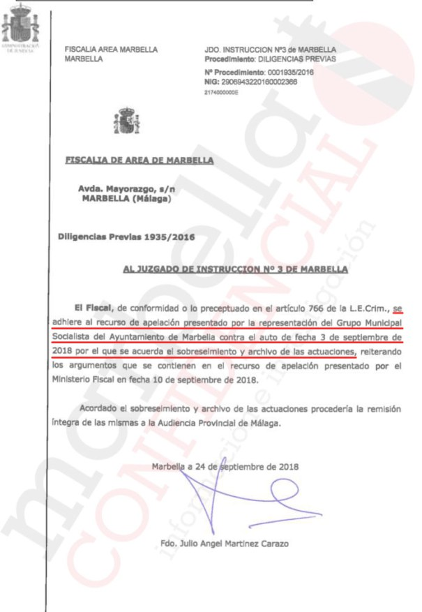 Escrito del fiscal jefe de Área de Marbella, Julio Martínez Carazo, en el que se adhiere al recurso de apelación del PSOE frente al archivo del 'caso PGOU'