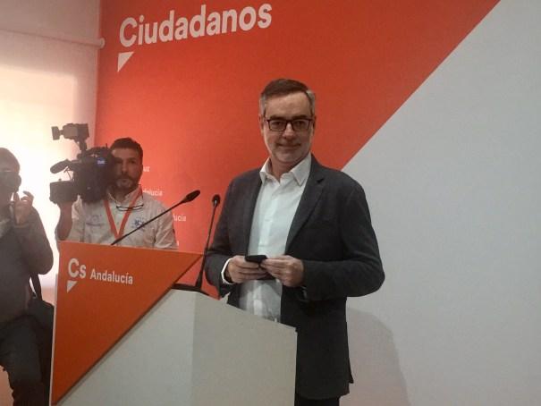 El secretario general de Cs, José Manuel Villegas, este lunes en rueda de prensa . FOTO/ CABANILLAS