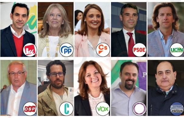 Imagen de los diez candidatos de paridos que se presentan a las municipales en Marbella