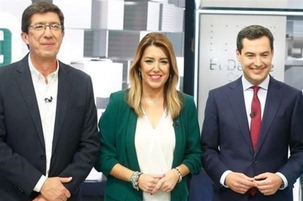 De izqda a drcha Juan Marín (Cs); Susana Díaz (PSOE) y Juanma Moreno (PP), durante un debate de la pasada campaña electoral en Canal Sur TV.