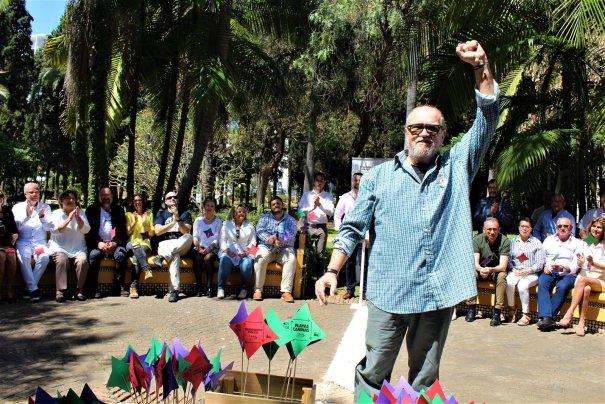 Andrés Cuevas durante una asamblea de IU, en una foto de archivo distribuida este sábado por Izquierda Unida Marbella