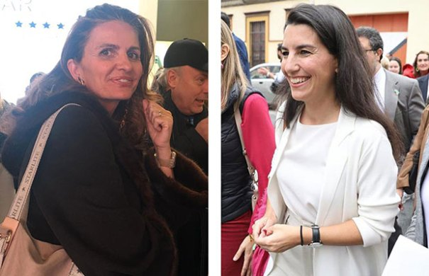 La empresaria de Starlite, Sandra García Sanjuan en Fitur 2020 y frente a ella la dirigente de Vox Rocío Monasterio en imagen de archivo.